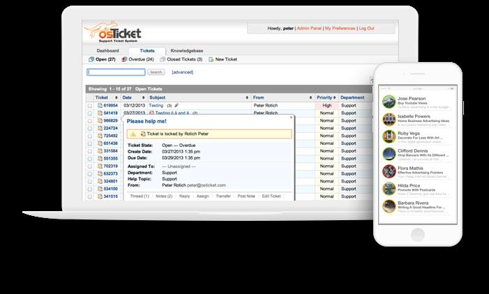 osTicket mobile app